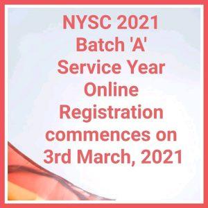 My logo : NYSC Batch A Registrations Date