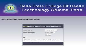 My Logo : Delta State College of Health Admission Form